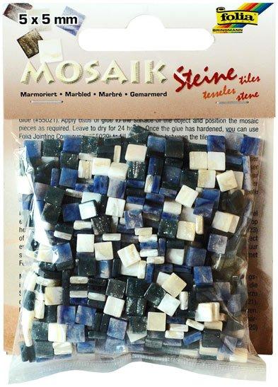 Mozaika pryskyřicová 5x5mm- modrý mramor