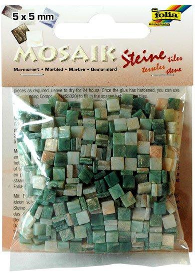 Mozaika pryskyřicová 5x5mm- zelený mramor