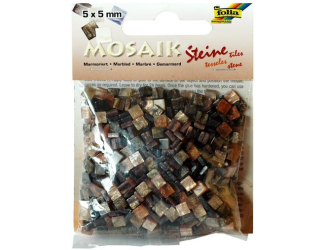 Mozaika pryskyřicová 5x5mm- hnědý mramor