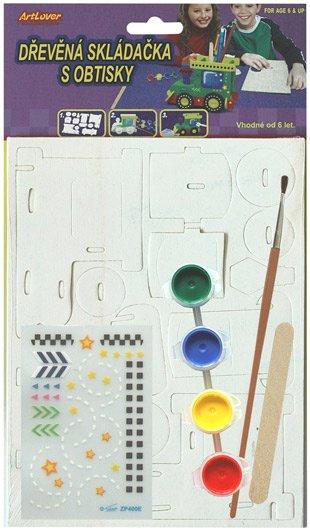 Dřevěná skládačka- stojánek na tužky- mašinka