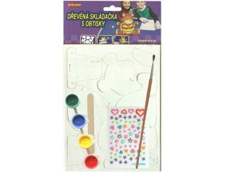 Dřevěná skládačka- stojánek na tužky- medvídek