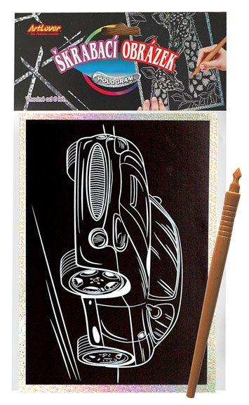Škrabací obrázek- Holografický 20x15 cm- auto