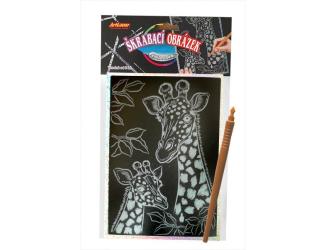 Škrabací obrázek- Holografický  20x15 cm- žirafy