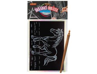 Škrabací obrázek- Holografický  20x15 cm- koník