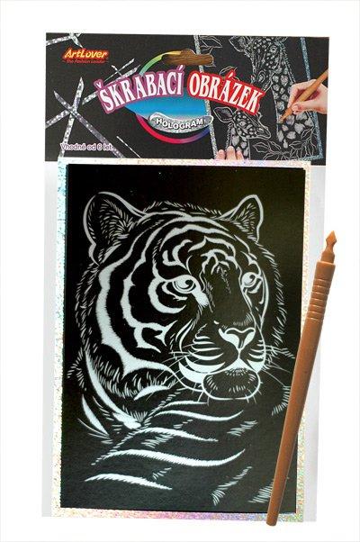 Škrabací obrázek- Holografický 20x15 cm- tygr
