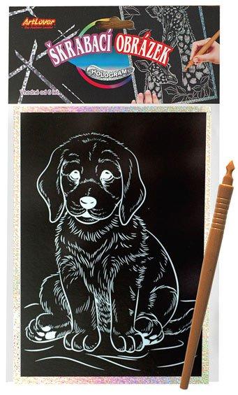 Škrabací obrázek- Holografický 20x15 cm- pes