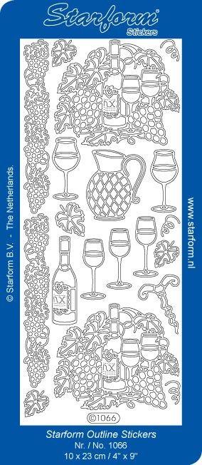 Obrysové samolepky - Víno - zlaté