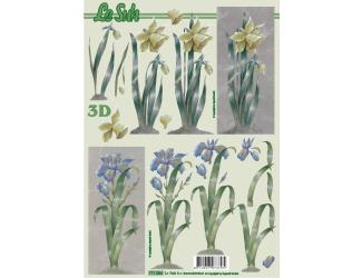 3D papíry pro vystřihování- Květina žlutá a modrá