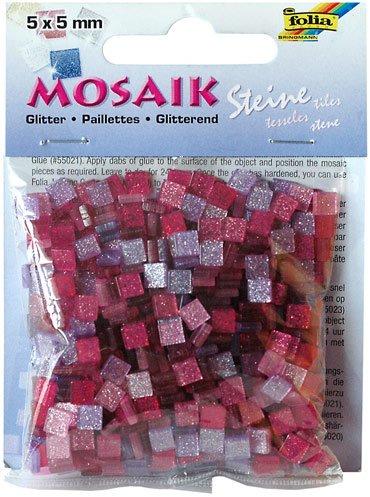 Mozaika třpytivá 5x5mm- růžová