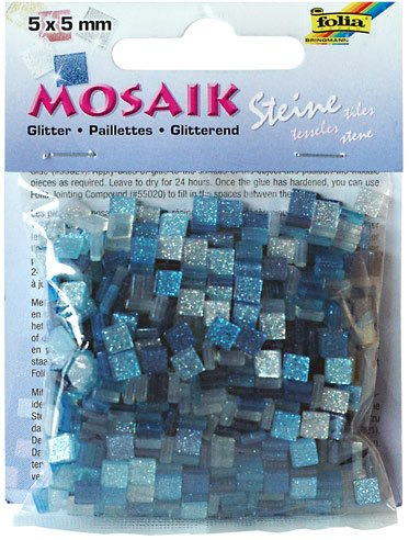 Mozaika třpytivá 5x5mm- modrá