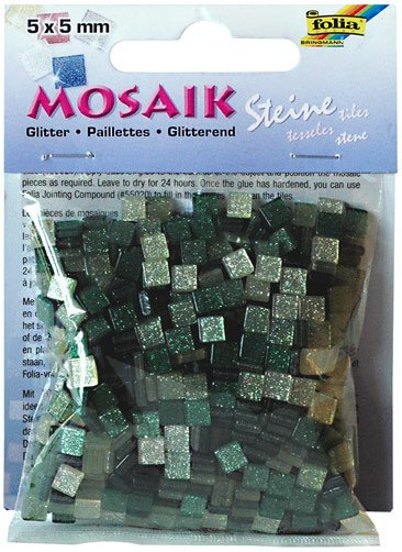 Mozaika třpytivá 5x5mm- zelená