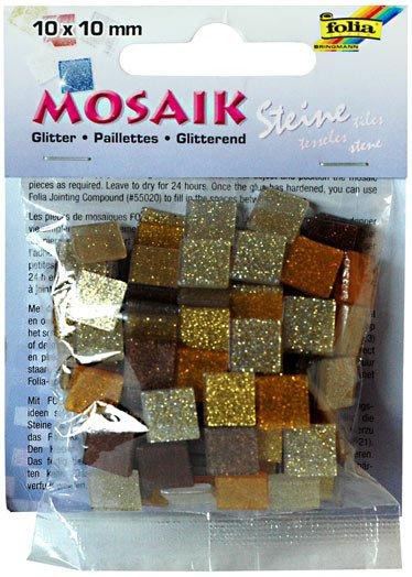 Mozaika třpytivá 10x10mm- hnědá
