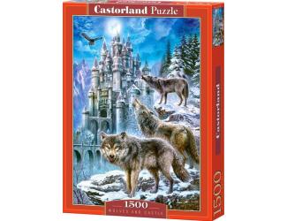 Puzzle 1500 dílků- vlci u zámku